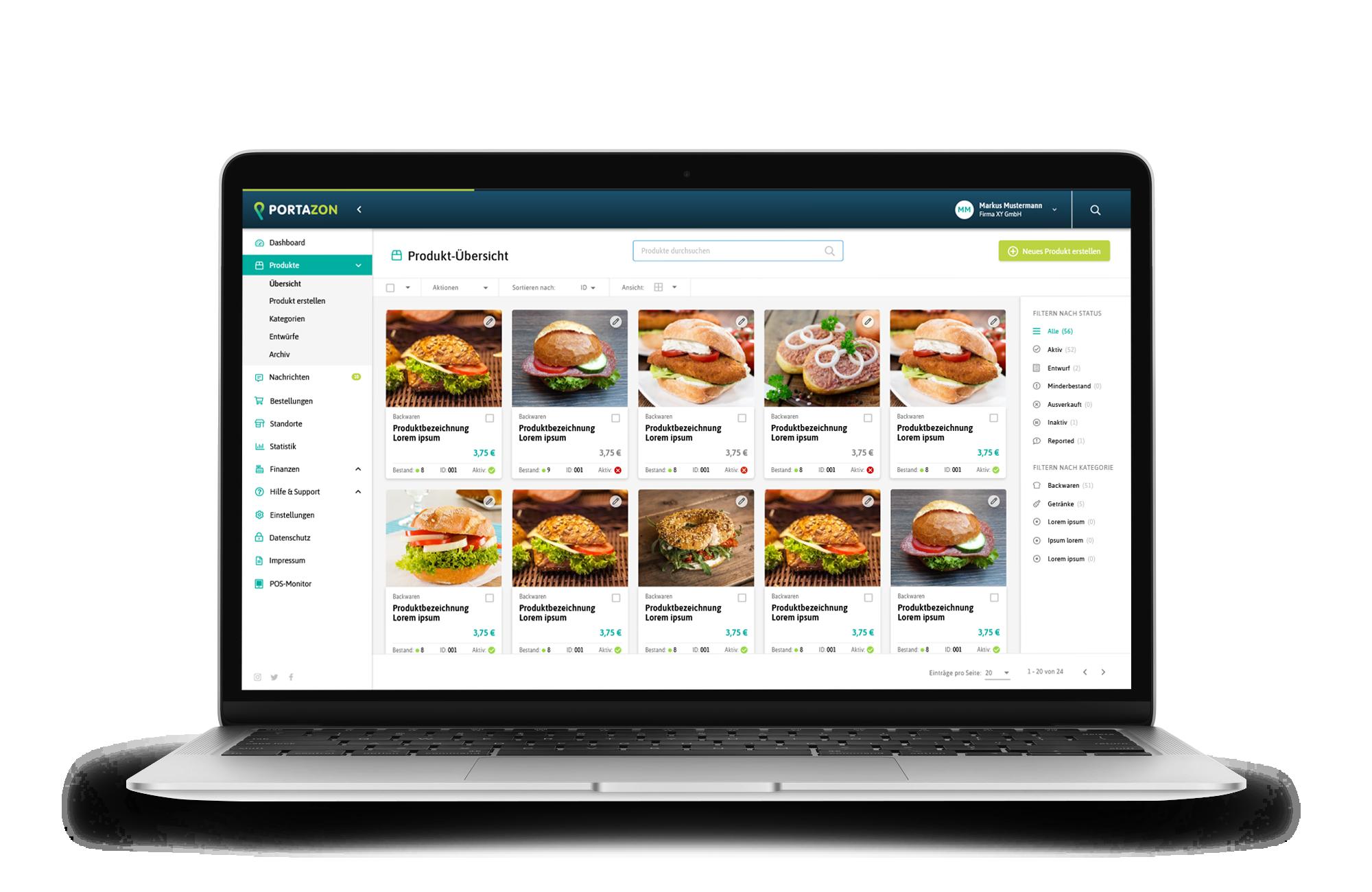 Dashboard Produktübersicht